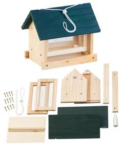 Mangeoire à oiseaux à suspendre avec silo en bois, à assembler – 11 pièces