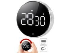 Minuteur de cuisine numérique à molette avec écran LCD et support magnétique