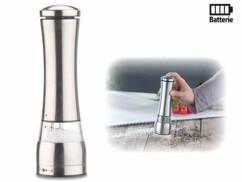 Moulin poivre / sel électrique en inox avec broyeur en céramique - 21,5 cm