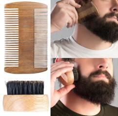 necessaire a barbe avec double peingne en bois et brosse en poils de sanglier