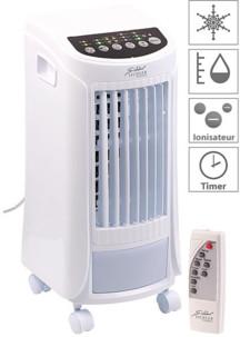 rafraichisseur d'air avec humidificateur et ioniseur sur roulettes pour grandes pieces avec telecommande LW450 sichler