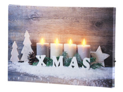 "Tableau lumineux ""Bougies de Noël"" 30 x 20 cm"