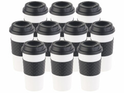 "10 gobelets ""Coffee to go"" à double-paroi avec couvercle en silicone - 475 ml"