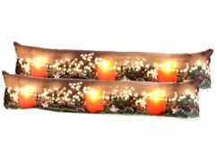2 coussins de porte à 3 LED avec motifs bougies - 90 x 20 cm