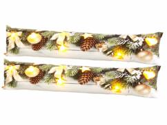 2 coussins de porte à 7 LED avec motifs de Noël - 90x20cm