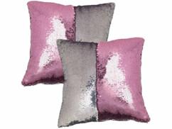 2 housses de coussin carrées, coloris rose & argent, 40 x 40 cm