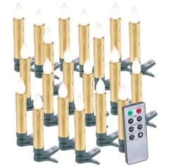 20 bougies LED pour sapin de Noël avec télécommande - coloris doré