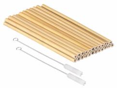 24grandes pailles en bambou 22 cm réutilisables avec brosses de nettoyage