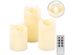 3 bougies télécommandées en cire véritable à luminosité variable et effet flamme