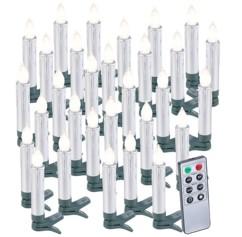 30 bougies LED pour sapin de Noël avec télécommande - coloris Argent