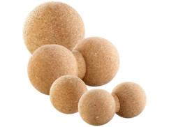 4 balles en liège simples Ø 6,5, 10cm et doubles Ø 6,5, 8 cm