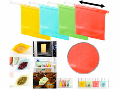 4 sachets alimentaires refermables en silicone,1000 ml