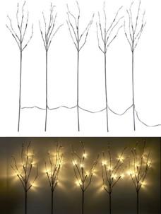 5 branches décoratives lumineuses 90 cm 30 LED blanc chaud