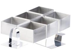6 emporte-pièces carrés 7,5 x 7,5 cm avec poussoir & support