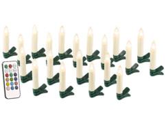 20 guirlande led avec clip formes bougies blanches pour sapin de noel avec télécommande