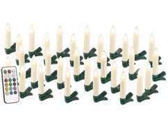 30 guirlande led avec clip formes bougies blanches pour sapin de noel avec télécommande