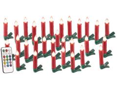 30 guirlande led avec clip formes bougies rouges pour sapin de noel avec télécommande