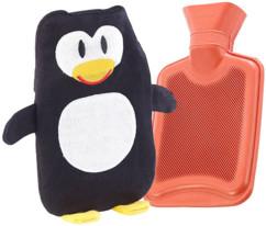 Bouillotte classique en caoutchouc avec housse pingouin - 1 litre