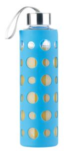 Bouteille en verre borosilicate 550 ml - Avec housse silicone Bleue