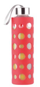 Bouteille en verre borosilicate 550 ml - Avec housse silicone Rouge
