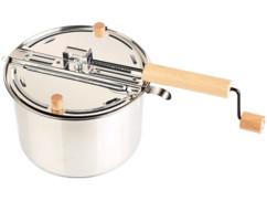 casserole pour cuisson pop corn avec manche en bois et manivelle pour mélanger grains de mais compatible induction