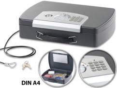 Coffre-fort de voyage en acier pour documents A4  avec serrure électronique
