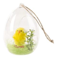 Décoration en verre à poser ou à suspendre avec poussin de Pâques