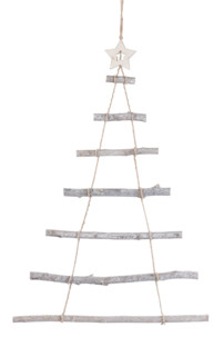 decoration murale suspension de noel echelle branches et corde forme sapin
