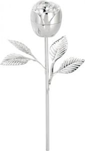 Écrin à bague Rose en métal, avec sa tige - version Argentée