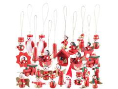 Lot de 30 decorations en bois pour sapin de noel avec anges train bonhomme de neige pere noel
