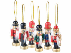 """Ensemble de 6 figurines en bois """"Casse-Noisette"""" pour sapin de Noël"""