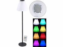 Lampe sur pied solaire à LED 7 couleurs avec haut-parleurs sans fil