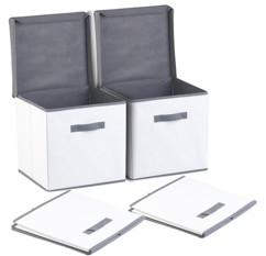 Lot de 2 boîtes de rangement pliables avec couvercle - Blanc