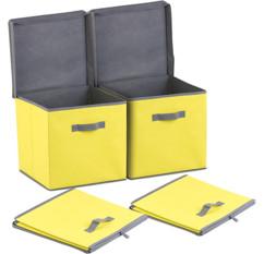 Lot de 2 boîtes de rangement pliables avec couvercle - Jaune