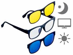 Lunettes anti-lumière bleue 3 en 1 avec sur-lunettes magnétiques pour vision nocturne et protection