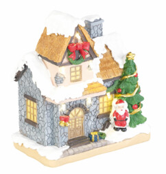 Maisonnette décorative avec Père Noël et illuminations