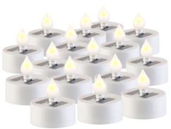 Pack de 16 bougies plates à LED avec chargeur solaire et capteur de luminosité