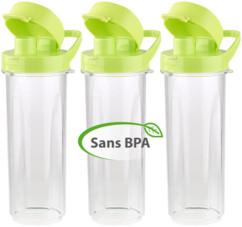 pack de 3 bouteilles en plastique avec ouverture sport pour mixeur blender rosenstein br500