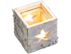 Photophore en bois motif étoile
