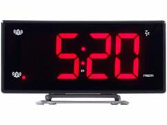 Radio-réveil à projection avec affichage rouge et port de chargement USB