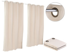 Pack de 2 Rideaux occultants 145 x 245 cm avec œillets 4 cm - coloris beige
