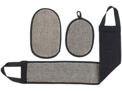 gant de peeling et sangle de massage pour exfoliation peau visage dos jambes sichler