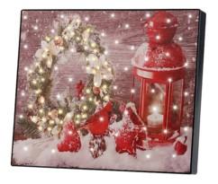 """Tableau lumineux à LED """"Couronne de Noël et lanterne"""" 28 x 23 cm"""