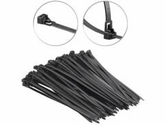 100 colliers de serrage réutilisables, coloris noir - 250x 7,6mm