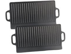 2 plaques-grils de cuisson en fonte - 43 x 23,5 cm