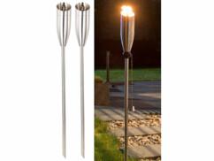 "2 torches de jardin en acier inoxydable ""Eros"" - 650 ml"