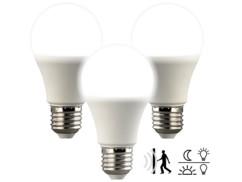 3 ampoules LED avec capteurs de mouvement et d'obscurité 10W- Blanc du Jour