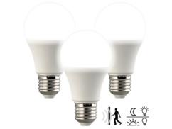 3 ampoules LED avec capteurs de mouvement et d'obscurité 10W- Blanc neutre