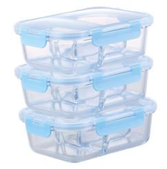 boites de conservation en verre resistant four avec 3 emplacements