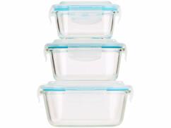 Lot de 3 boîtes de conservation en verre sans BPA.